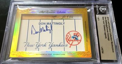 Don Mattingly and Goose Gossage 2014 Leaf Masterpiece Cut Signature certified autograph card 1/1 JSA