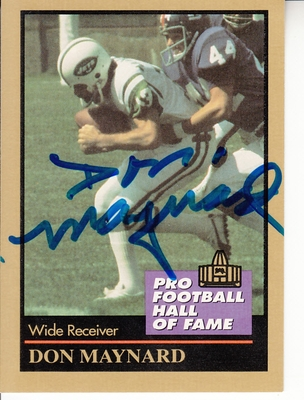 Don Maynard autographed New York Jets 1991 Pro Football Hall of Fame card