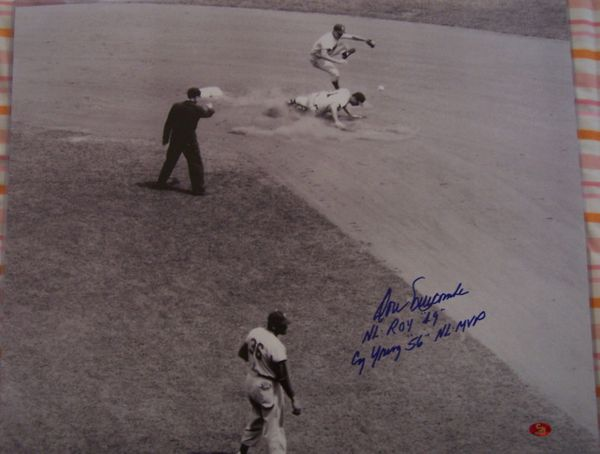 Don Newcombe autographed Brooklyn Dodgers 16x20 poster size photo inscribed NL ROY 49 and Cy Young 56 NL MVP