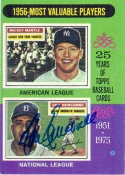 Don Newcombe autographed Brooklyn Dodgers 1975 Topps 1956 MVPs card