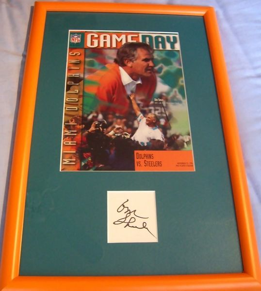 Don Shula autograph matted and framed with Miami Dolphins 1994 game program cover