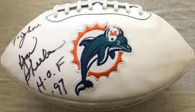 Don Shula autographed Miami Dolphins logo white panel football inscribed HOF 97 (to John)