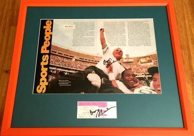 Don Shula autographed Miami Dolphins NFL Career Win #325 ticket stub and photo matted and framed