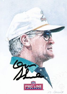 Don Shula certified autograph Miami Dolphins artwork 1992 Pro Line card