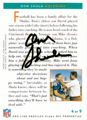 Don Shula certified autograph Miami Dolphins 1992 Pro Line card #4