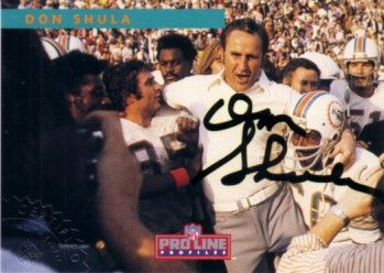Don Shula certified autograph Miami Dolphins 1992 Pro Line card
