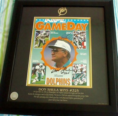 Don Shula and Dan Marino autographed Miami Dolphins NFL Record Win #325 1993 program cover matted and framed