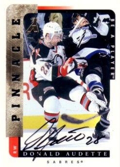 Donald Audette certified autograph Buffalo Sabres Be A Player card