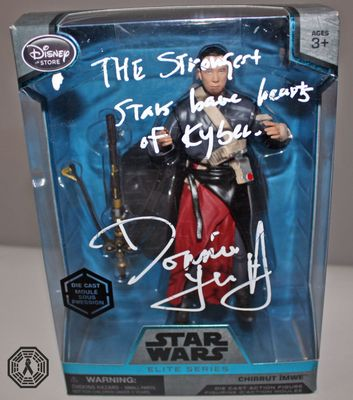 Donnie Yen autographed Star Wars Rogue One Elite Series action figure with quote inscription (flawed signature)