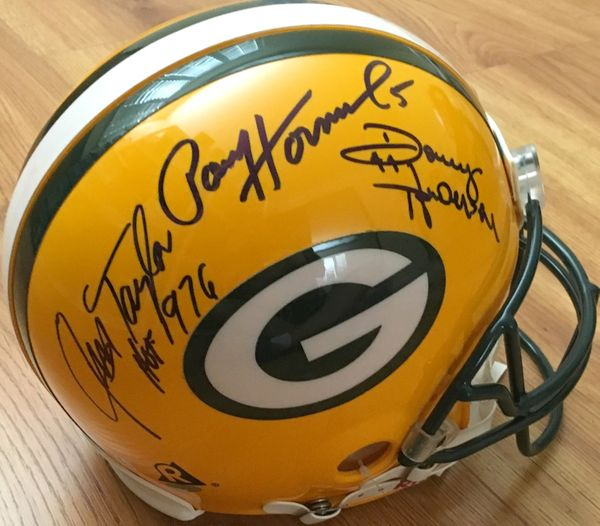 Donny Anderson Paul Hornung Jim Taylor autographed Green Bay Packers Riddell full size authentic Pro Line game model helmet