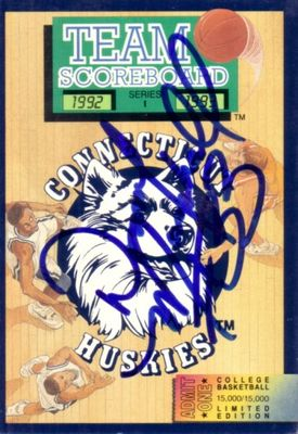 Donny Marshall autographed Connecticut Huskies 1992-93 Team Scoreboard booklet