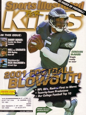 Donovan McNabb autographed Philadelphia Eagles 2001 Sports Illustrated for Kids magazine cover