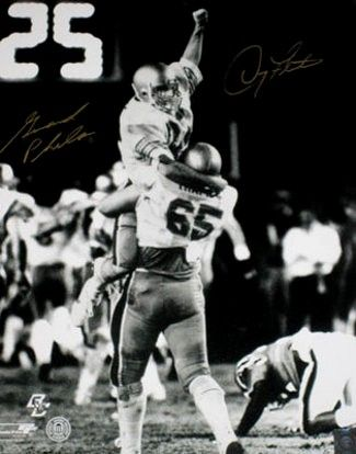 Doug Flutie and Gerard Phelan autographed Boston College 1984 Hail Mary Pass 16x20 poster size photo