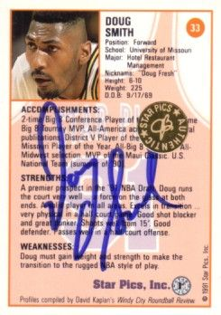 Doug Smith Missouri certified autograph 1991 Star Pics card