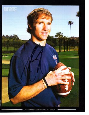 Drew Brees autographed 2010 Southland Golf magazine full page photo