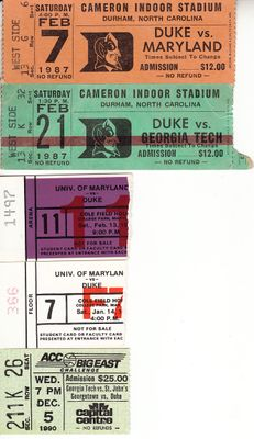Duke Blue Devils basketball lot of 5 vintage ticket stubs (Danny Ferry Grant Hill Christian Laettner)
