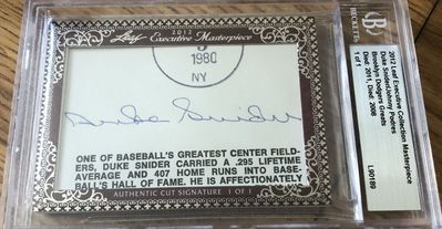Duke Snider and Johnny Podres 2012 Leaf Masterpiece Cut Signature certified autograph card 1/1 JSA