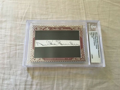 Duke Snider and Tommy Lasorda 2012 Leaf Masterpiece Cut Signature certified autograph card 1/1 JSA