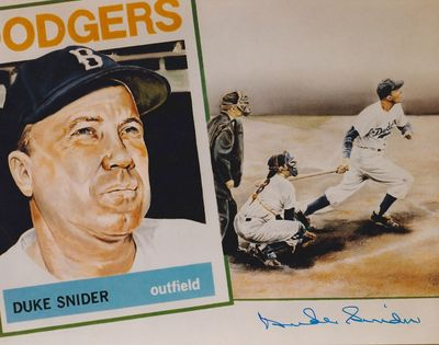 Duke Snider autographed Brooklyn Dodgers 8x10 color art photo