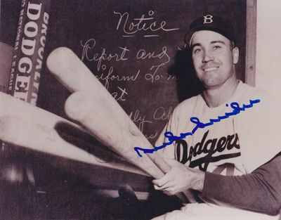 Duke Snider autographed Brooklyn Dodgers 8x10 clubhouse black and white photo