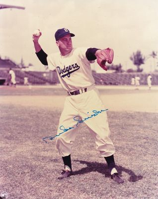 Duke Snider autographed Brooklyn Dodgers 8x10 throwing photo