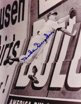 Duke Snider autographed Brooklyn Dodgers 8x10 Ebbets Field outfield wall photo