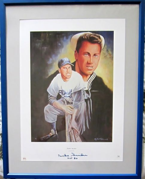Duke Snider autographed Brooklyn Dodgers lithograph matted & framed (PSA/DNA)