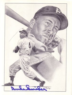 Duke Snider autographed Brooklyn Dodgers 8x10 art print