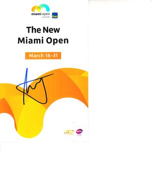 Dusan Lajovic autographed 2019 Miami Open tennis tournament map and program