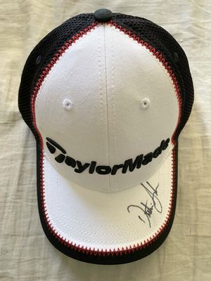 Dustin Johnson autographed white Taylor Made golf cap or hat
