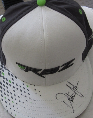 Dustin Johnson autographed white Taylor Made RBZ golf cap or hat