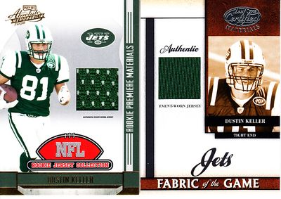 (3) Dustin Keller New York Jets 2008 Leaf & 2008 Playoff Materials & 2011 Topps Game Day jersey swatch cards