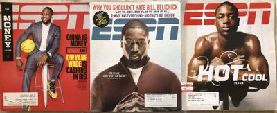 Dwyane Wade Miami Heat lot of 3 different ESPN Magazine issues 2005 2008 and 2014