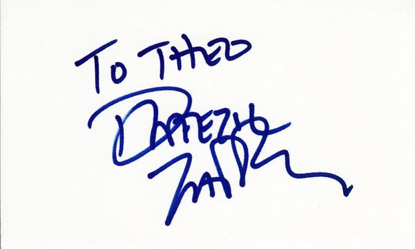 Dweezil Zappa autographed index card