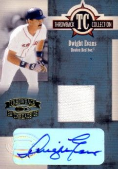 Dwight Evans certified autograph Boston Red Sox 2005 Donruss game jersey card