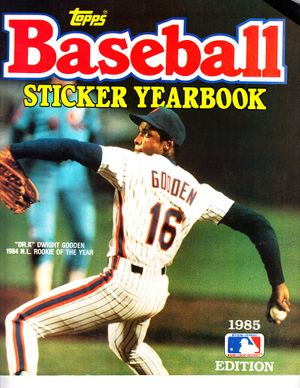 Dwight Gooden New York Mets 1985 Topps sticker album with many stickers inside