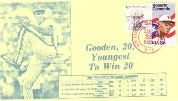 Dwight Gooden Youngest 20 Game Winner 1985 New York Mets cachet envelope