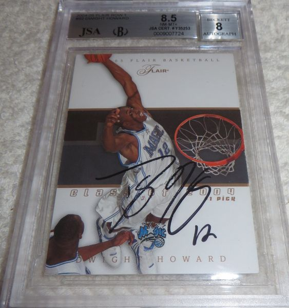 Dwight Howard autographed Orlando Magic 2004-05 Flair card JSA authenticated (BGS graded 8.5 and slabbed)