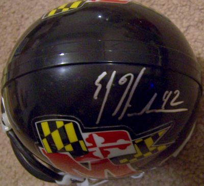 E.J. Henderson autographed Maryland Terrapins throwback mini helmet