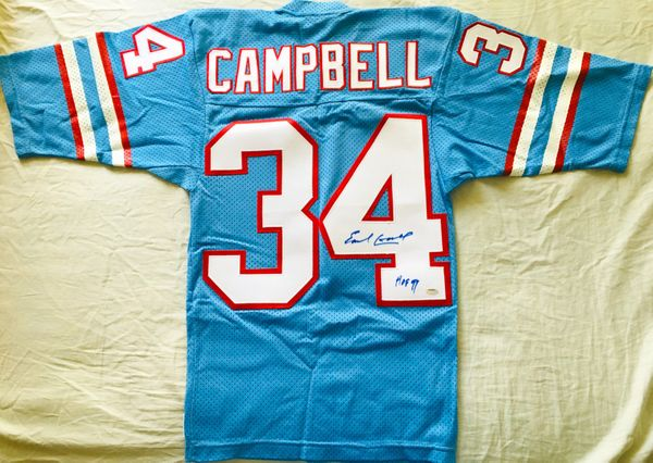 Earl Campbell autographed Houston Oilers authentic 1980s Sand Knit stitched blue throwback jersey (Schwartz)