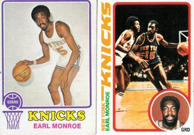 Earl Monroe New York Knicks 1973-74 and 1978-79 Topps basketball cards