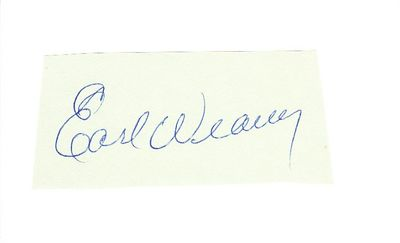 Earl Weaver autograph or cut signature mounted on 3x5 index card
