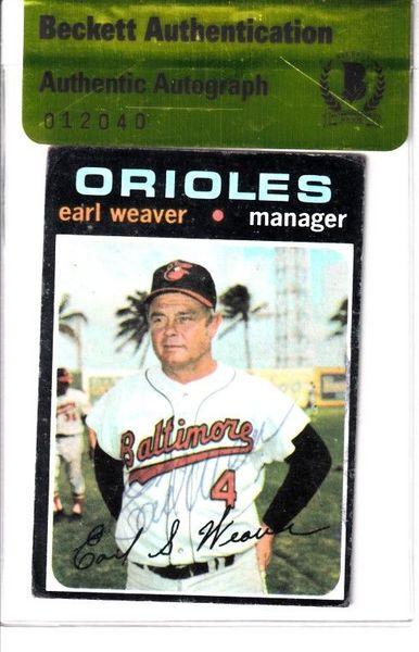Earl Weaver autographed Baltimore Orioles 1971 Topps card (BAS authenticated)