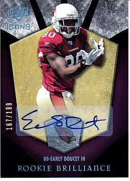 Early Doucet certified autograph Arizona Cardinals 2008 Upper Deck Icons card #167/199