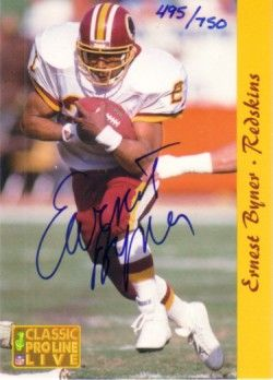 Earnest Byner certified autograph Washington Redskins 1993 Pro Line card #495/750
