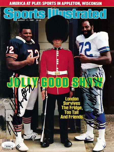Ed (Too Tall) Jones and William (The Refrigerator) Perry autographed 1986 Sports Illustrated cover (JSA)