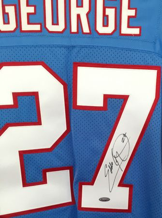 Eddie George autographed 1998 Tennessee Oilers authentic Starter stitched jersey (TRISTAR)