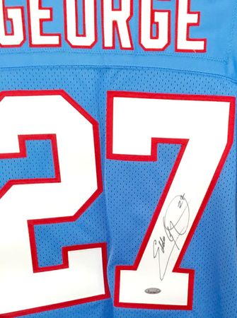 Eddie George autographed 1997 Tennessee Oilers authentic Starter stitched jersey (TRISTAR)