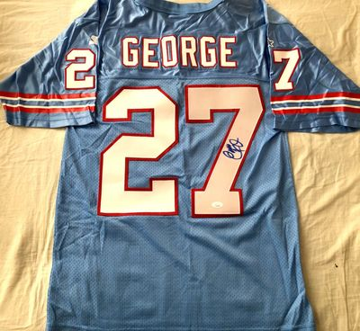 Eddie George autographed 1998 Tennessee Oilers authentic Starter stitched jersey (JSA)