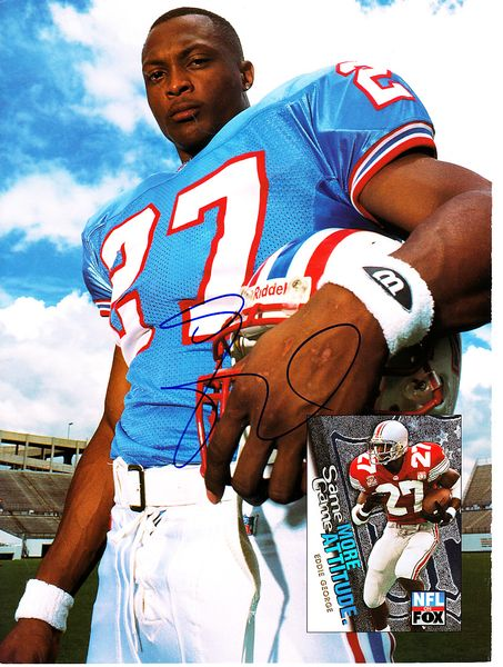 Eddie George autographed Houston Oilers Beckett Football back cover photo